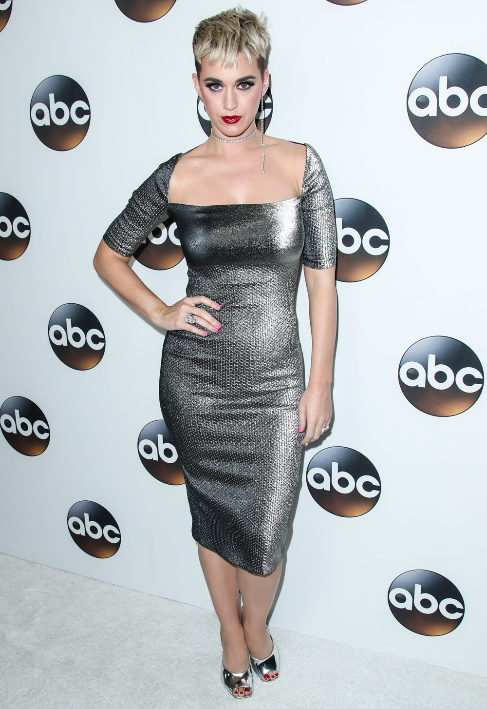 Katy Perry Wearing Area Metallic Dress At Abc All Star Party