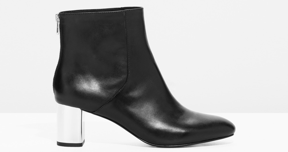 da17ee62045 Other Stories black leather ankle boot with back zip and metal heel