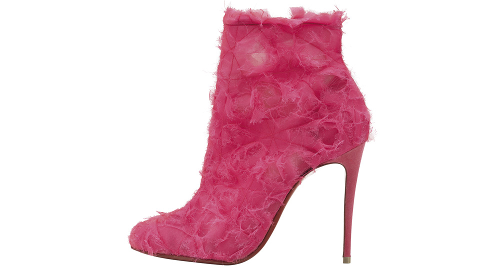 86ebee23465 Christian Louboutin pink organza-suede  Toubootfrou 100  ankle boot with  frayed detail and pin-thin stiletto heel