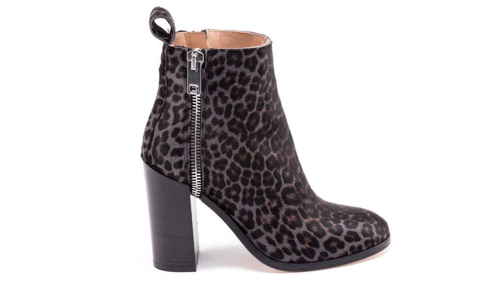 6f3e21528b7 Diesel round-toe leopard print ankle boot with calf hair