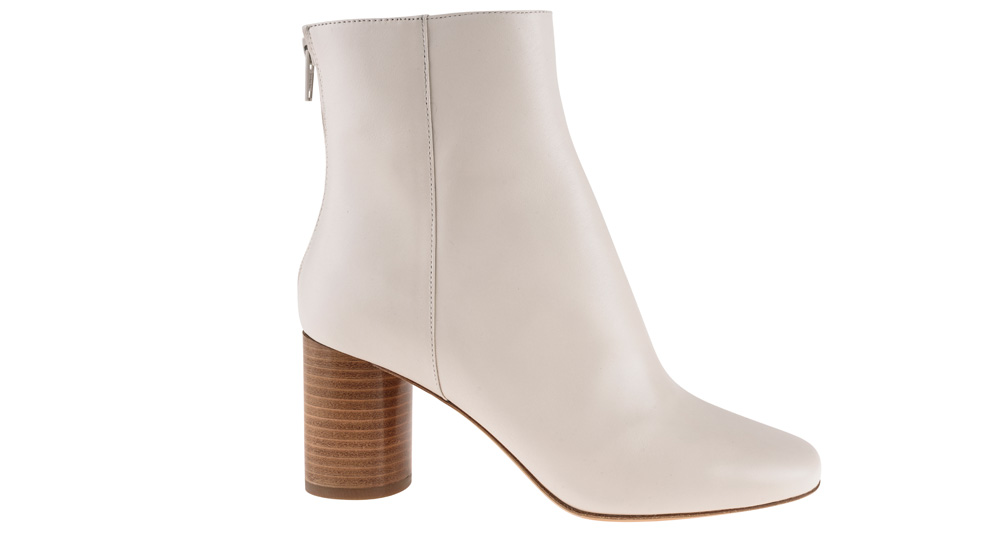 cf98ddc3c7a Sandro off-white goatskin leather ankle boot with straight block heel
