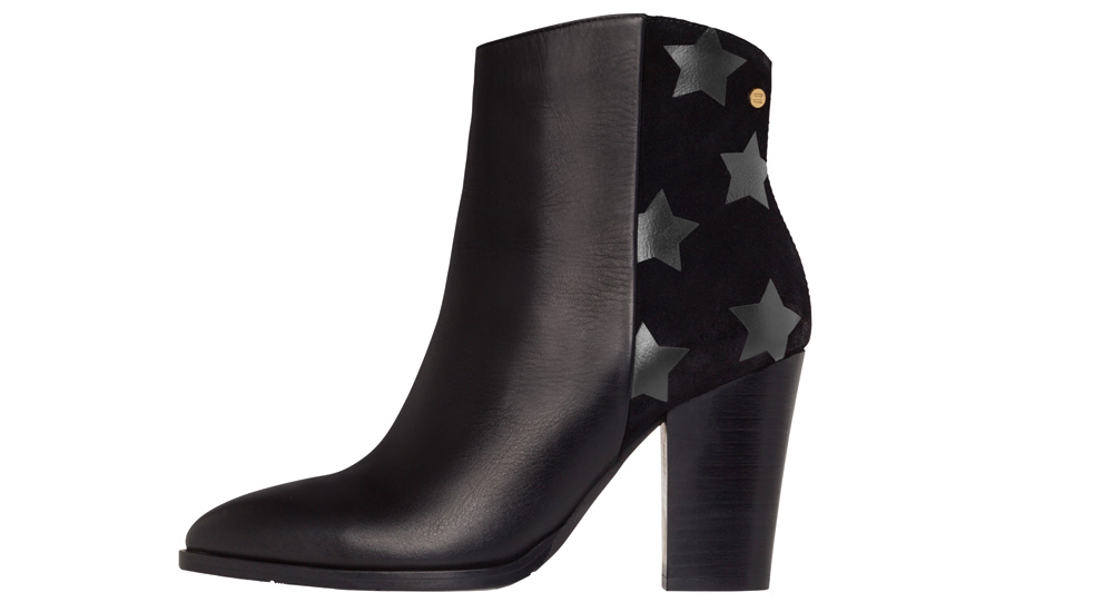 f52a69283e7 Tommy Hilfiger high heel black leather  Lopez  ankle boot with distinctive  suede back featuring subtle star pattern