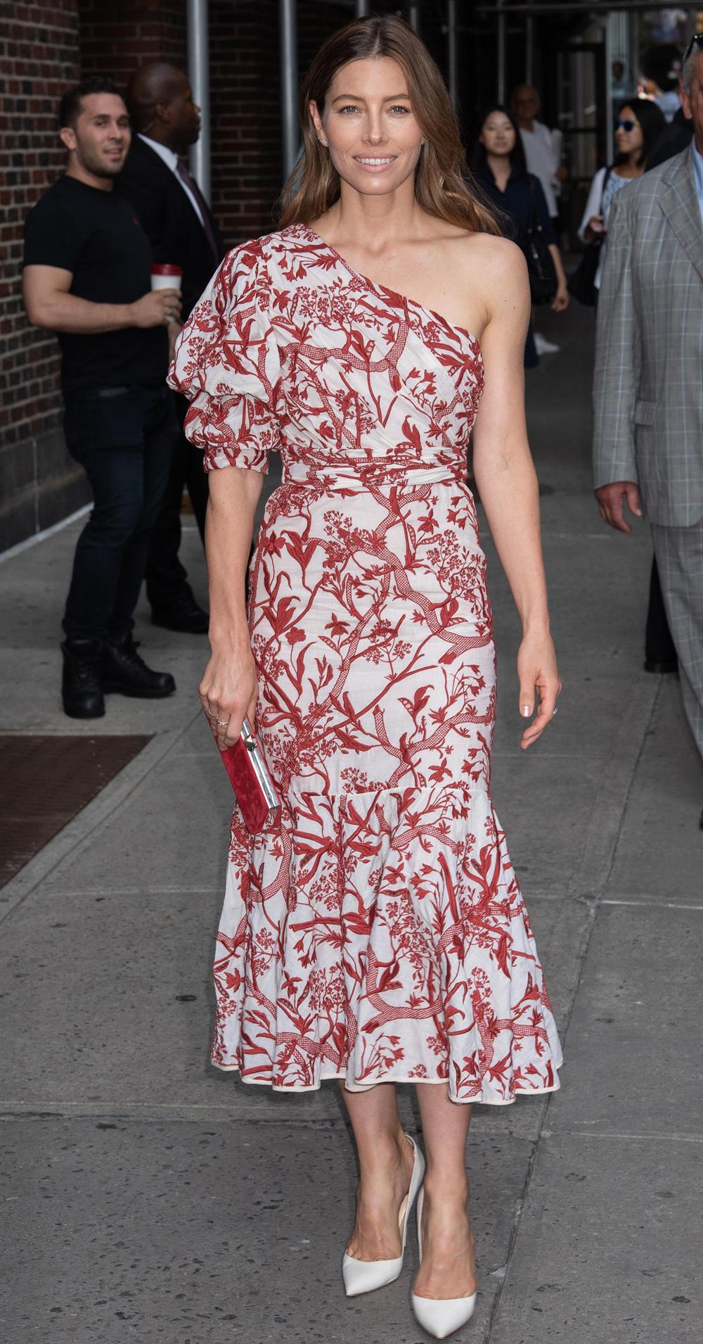 Jessica Biel In A Johanna Ortiz Dress And Louboutin Shoes
